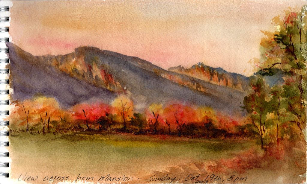 View Across from Daly Mansion En Plein Air Watercolor Painting