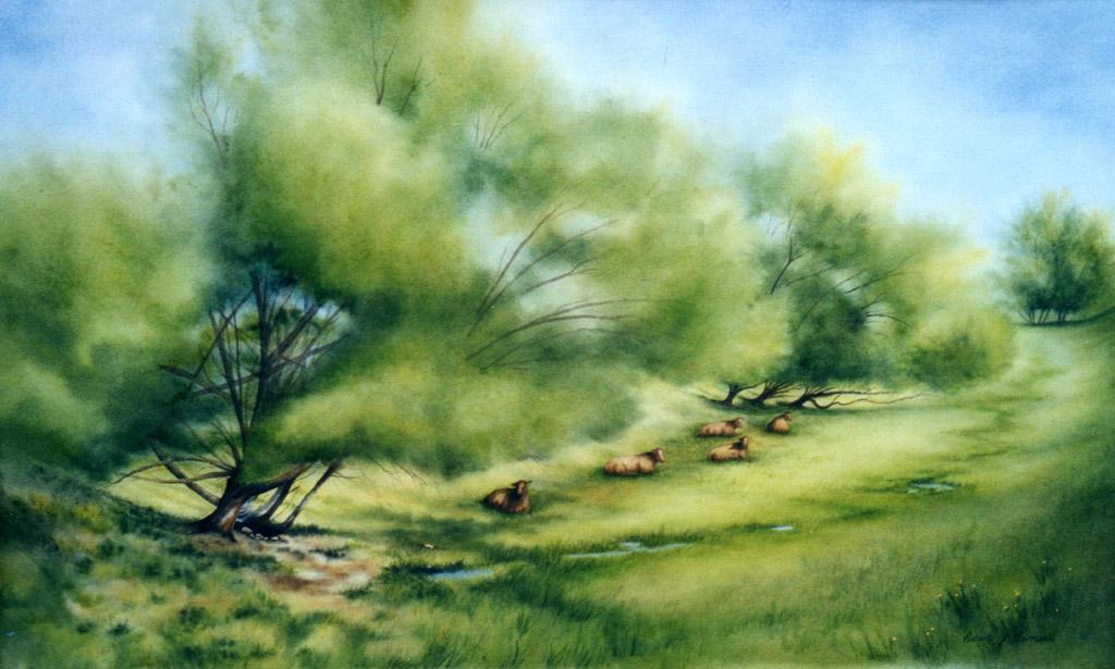 Afternoon Siesta Watercolor Painting by Roberta Burruss