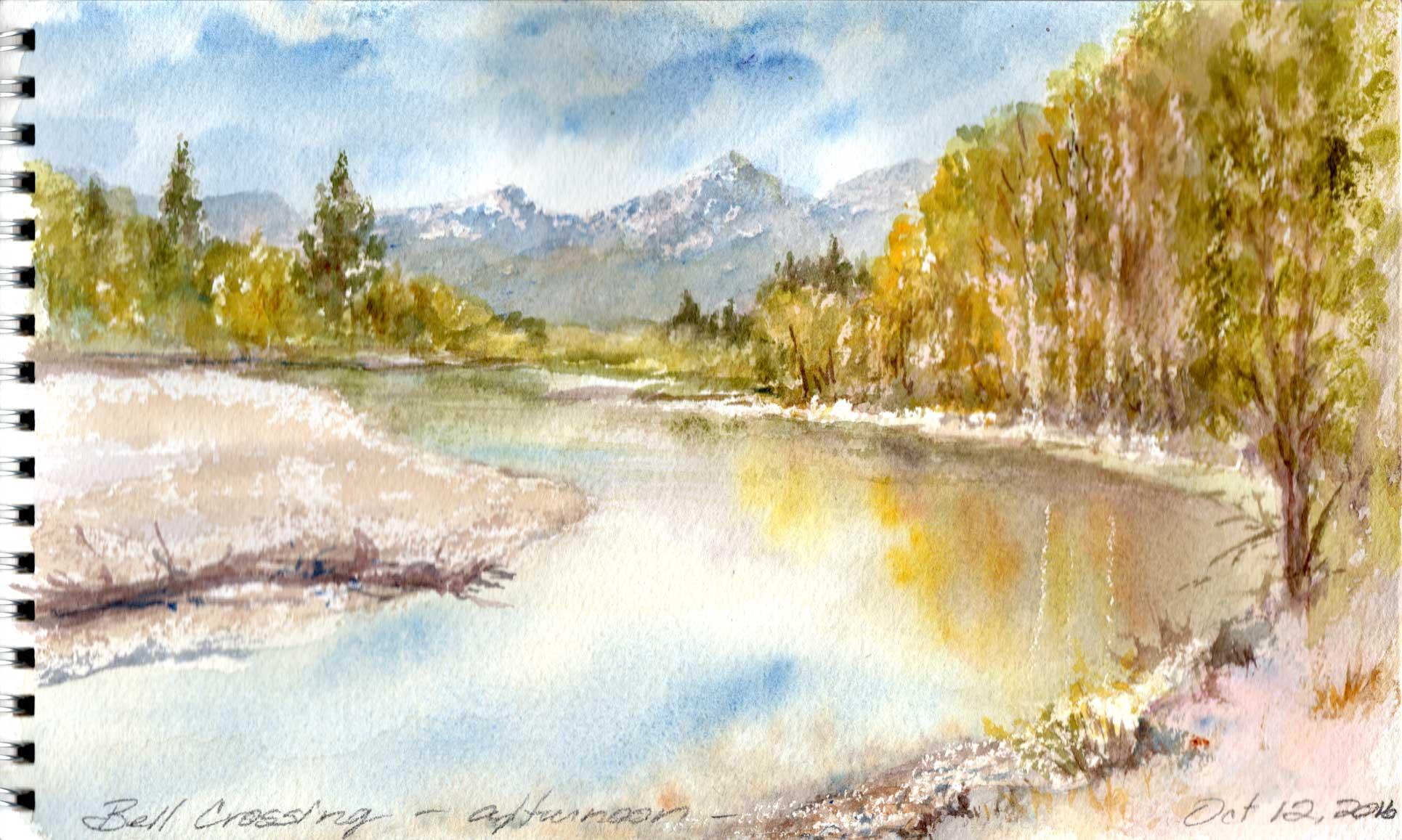Bell Crossing En Plein Air Watercolor Painting by Roberta Burruss