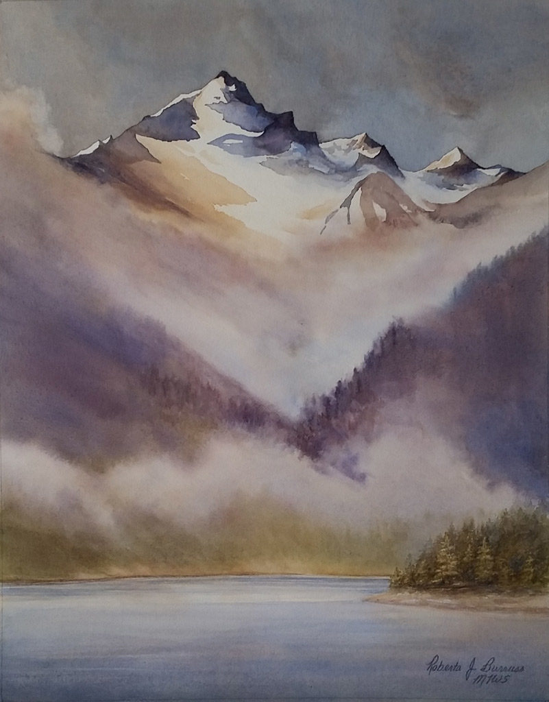 Misty Mountain Watercolor Painting by Roberta Burruss