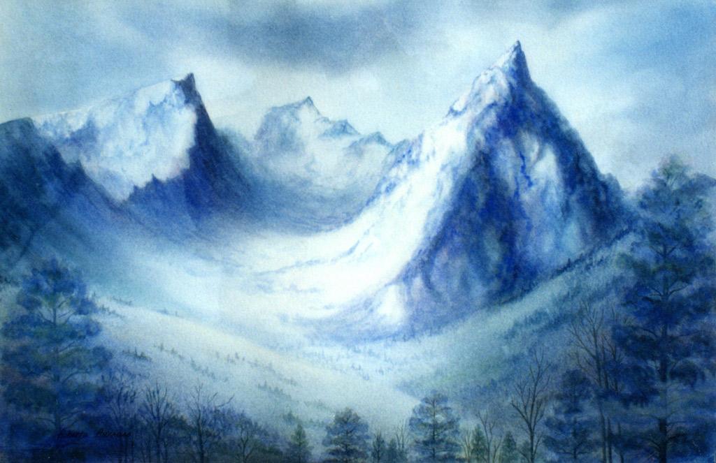 Trapper Peak Watercolor Painting by Roberta Burruss