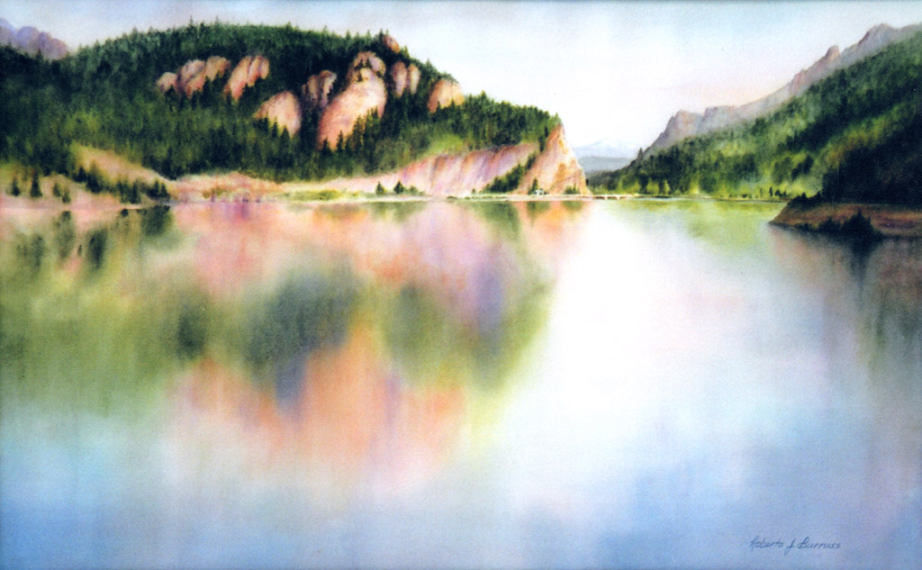 Painted Rocks Reflected Watercolor Painting by Roberta Burruss