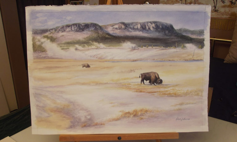 Yellowstone Bison Watercolor Painting