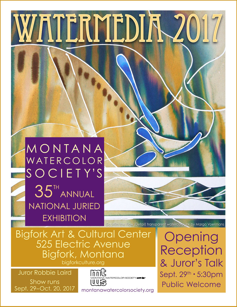 "Watermedia 2017 Poster featuring Roberta's ""Mountain Mist"" painting."